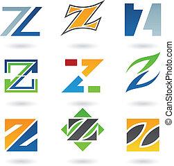 résumé, z, lettre, icônes