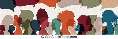 rész, társadalmi, arcél, értesülés, nemzetközi, community., beszéd, tolong., beszéd, gondolat, communication., árnykép, bubble., közöl, emberek, communicating., arc, hálózat, gazdag koncentrátum