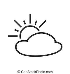 részben, cloudy., napos, intervals., időjárás becsül, icon.