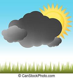 részben, időjárás, napos