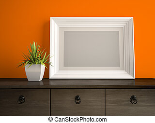 része, belső, noha, fehér, keret, és, narancs, fal, 3, vakolás, 2
