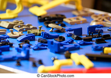 részletek, plastic., kék, kicsi