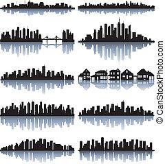 részletes, állhatatos, árnykép, városok