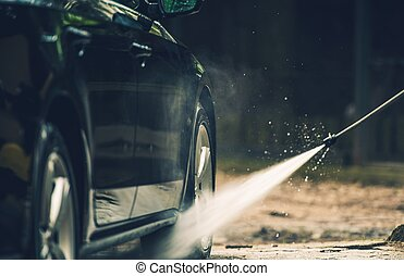 részletes, autó, mosás