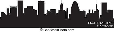 részletes, baltimore, árnykép, vektor, skyline., maryland