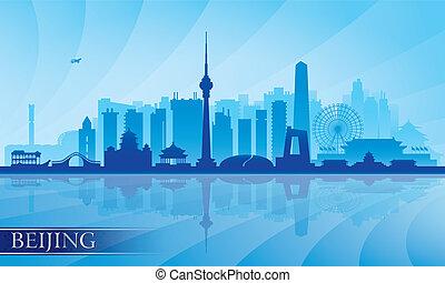 részletes, beijing, égvonal árnyalak, város