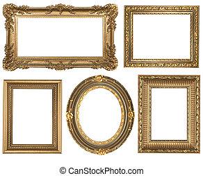 részletes, derékszögben, arany, szüret, ovális, keret,...