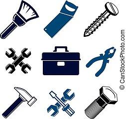 részletes, eszközök, állhatatos, rendbehozás, iparág, klasszikus, elszigetelt, icons., stilizált, téma, grafikus, vektor, gyűjtés, 3, munka, alapismeretek, white.