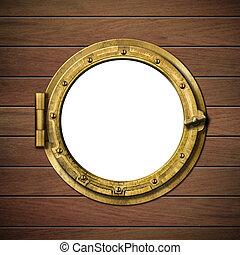 részletes, fából való, hajó, hajóablak