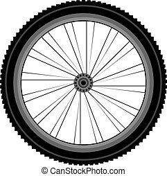 részletes, hegy bicikli, gördít, elülső