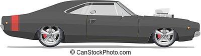 részletes, illustration., klasszikus, magas, amerikai, vektor, autó., izom