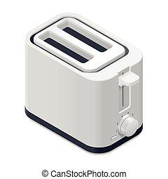 részletes, isometric, kenyérpirító, ikon