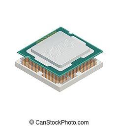 részletes, isometric, processor, ikon