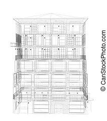 részletes, magasan, wire-frame, render, épület.