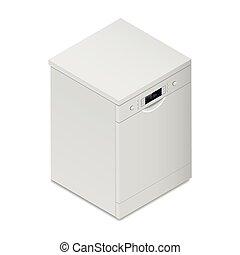részletes, mosogatógép, isometric, ikon