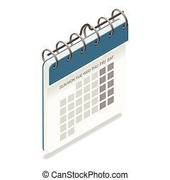 részletes, naptár, isometric, ikon