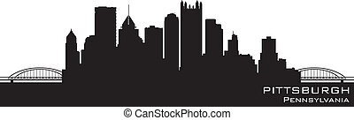 részletes, pittsburgh, árnykép, pennsylvania, vektor, skyline.