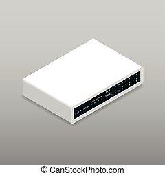 részletes, router, isometric, ikon