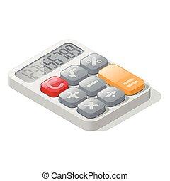 részletes, számológép, isometric, ikon