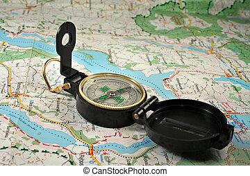 részletes, térkép, iránytű
