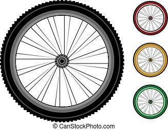 részletes, tol, állhatatos, bicikli, wheels.