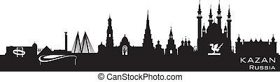 részletes, város, árnykép, kazan, láthatár, oroszország