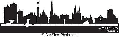 részletes, város, árnykép, samara, láthatár, oroszország