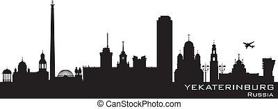 részletes, város, árnykép, yekaterinburg, láthatár, oroszország