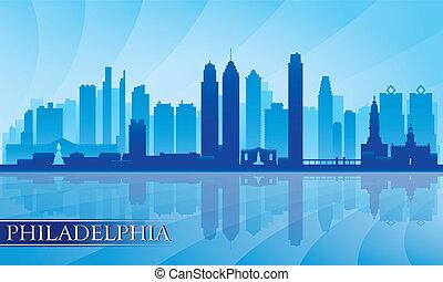 részletes, város égvonal, árnykép, philadelphia
