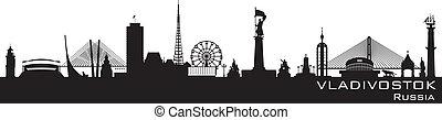 részletes, város, vladivostok, árnykép, láthatár, oroszország