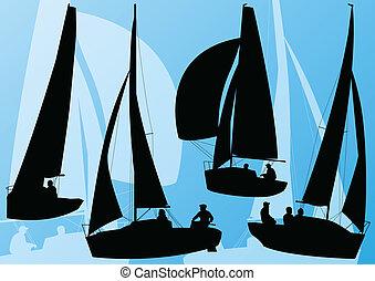 részletes, vitorlázás jacht, gyűjtés, sport, vektor, háttér, csónakázik