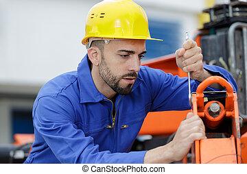 részletez, rögzítő, repairman, ipari, hatalmas, gép