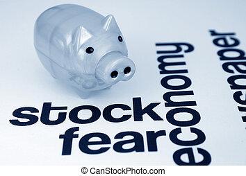 részvény, és, félelem, fogalom