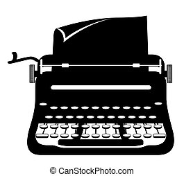 részvény, öreg, szüret, ábra, vektor, retro, ikon, írógép