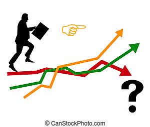 részvény, aktatáska, ember, cserél