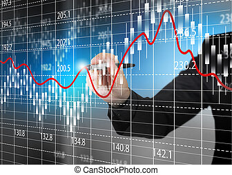 részvény, analízis, ügy, diagram, cserél, diagram.