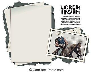 részvény, horse., cowboy, illustration.