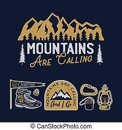 részvény, wanderlust, collection., húzott, tábor, logotypes, gyorsaság, vector., hiking., elnevezés, kéz, emblems., utazás, hívás, set., jelvény, hegy, designs., szüret, jel, hegyek, külső