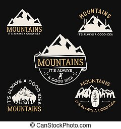 részvény, wanderlust, collection., húzott, tábor, logotypes, gyorsaság, vektor, hiking., elnevezés, kéz, emblems., utazás, set., jelvény, hegy, designs., szüret, jel, külső