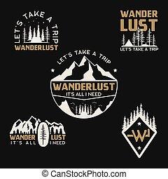 részvény, wanderlust, collection., húzott, természetjárás, tábor, logotypes, gyorsaság, vektor, elnevezés, kéz, emblems., utazás, set., jelvény, hegy, designs., backpacking., szüret, jel, külső