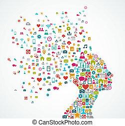 réteg, fej, fogalom, árnykép, illustration., eps10, ikonok, média, szervezett, vektor, editing., nő, könnyen, társadalmi, reszelő, elkészített, loccsanás