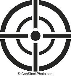 réticule, icon., but, cible, sac, vue, tireur embusqué, symbole., plat