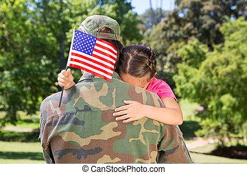 réuni, américain, soldat, fille