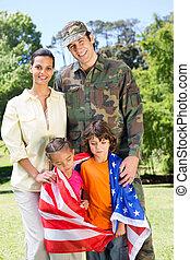réuni, soldat, famille