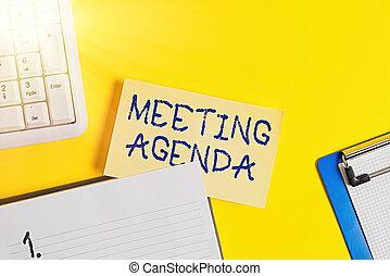 réunion, écriture, business, showcasing, participants, projection, vide, photo, orange, accomplir, agenda., espoir, espace copy, table., papier, articles, note, jaune