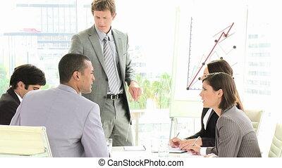 réunion, équipe, affaires conversation