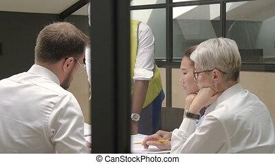 réunion, équipe, fonctionnement, projet, bureau, professionnel, ensemble, bâtiment, room.