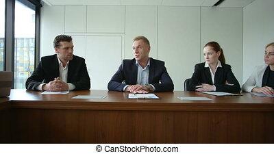 réunion affaires, constitué, gens