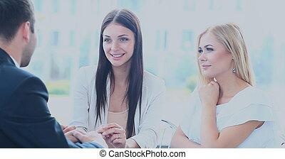 réunion affaires, dans, une, bureau