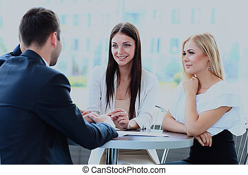 réunion affaires, dans, une, bureau.